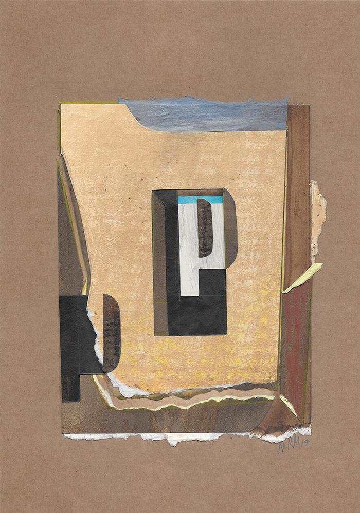 """Letra P de la serie 27 Caracteres que representa """"Patio"""". Georgia O'Keeffe."""