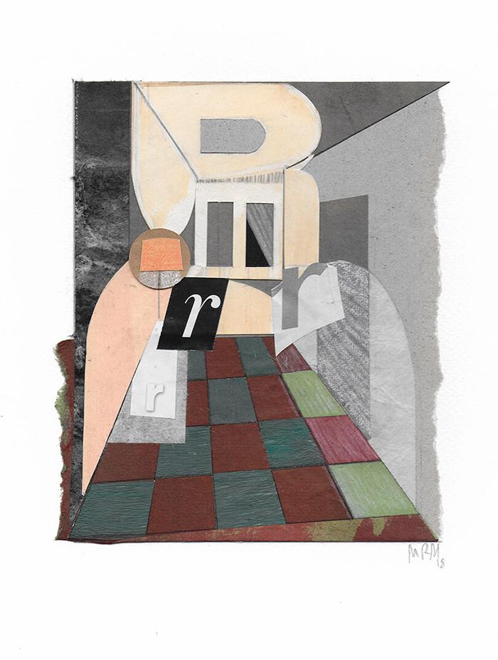 """Letra R de la serie 27 Caracteres que representa """" Habitación de costura"""". Isabel Quintanilla."""