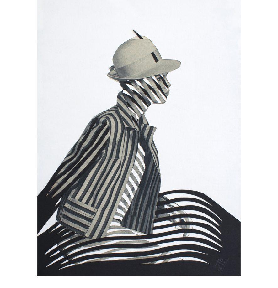 Mujer con sombrero 2020. El espacio aborda a la silueta despreocupada y perfora su sombrero.